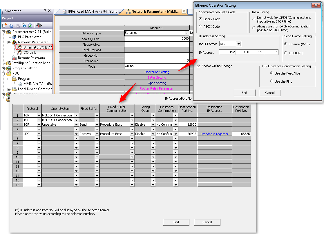 Mitsubishi - GX Works - Network Parameter