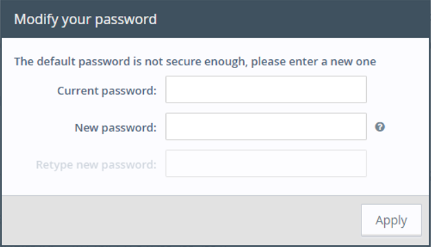 Web interface - password modification