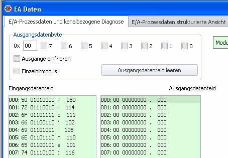 Datenformate PROFINET-Mastersimulator