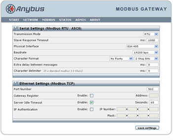 Configure the Modbus settings